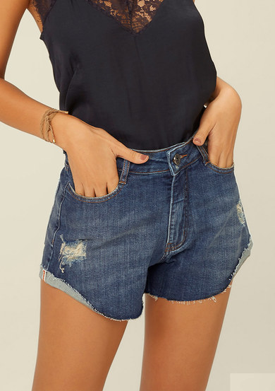 Shorts Jeans Base Pin Up Com Bolsos | Dzarm