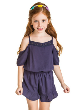 Macaquinho Infantil De Viscose Shoulderless Puc | Outlet