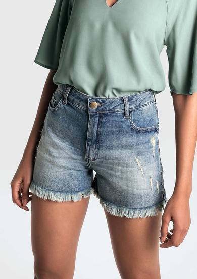 Shorts Jeans Com Aplicações Na Base Pin Up Loose | Dzarm