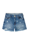 Shorts Jeans Em Algodão Na Base Pin Up Com Destroyed | Outlet