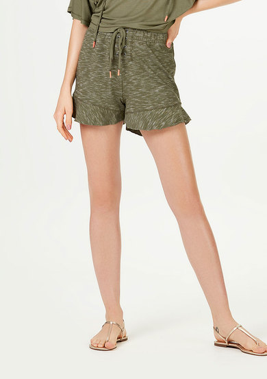 Shorts Feminino Com Babados E Lace-Up