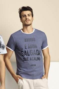 Camiseta Masculina Slim Com Estampa | Outlet