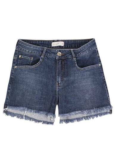 Shorts Jeans Com Barra Desfiada Na Base Pin Up Loose | Dzarm