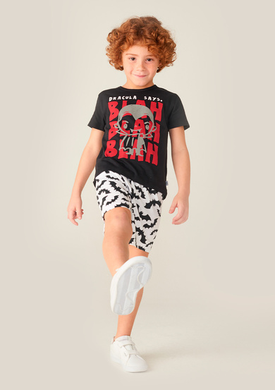 Pijama Curto Com Estampa Infantil Menino Little Monsters | Puc