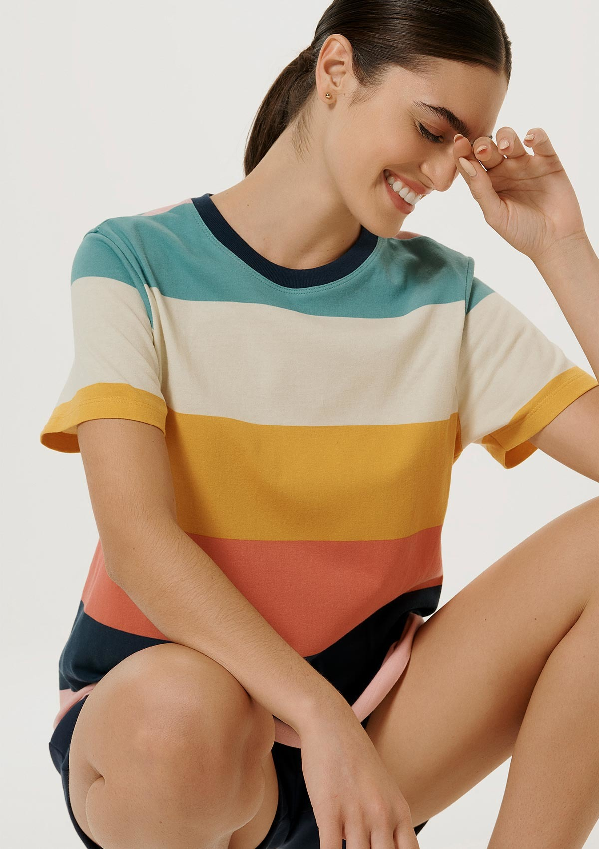 Blusa Feminina Listrada Color Block