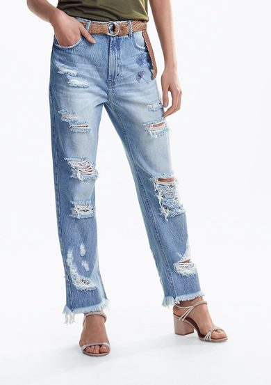 Calça Jeans Na Base Mom Com Destroyed | Dzarm