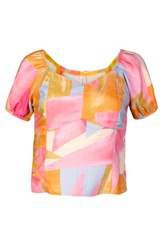 Blusa Manga Curta Estampada | Outlet