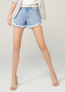 Shorts Jeans  Pin Up  Com Barra Desfiada