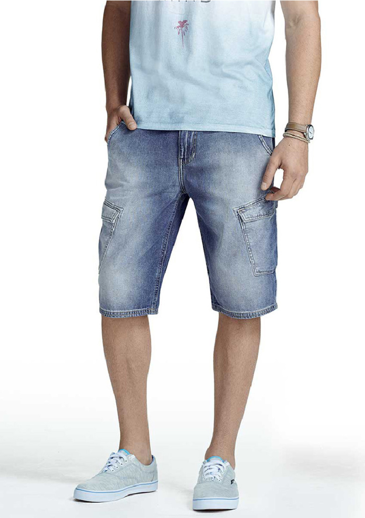 5844f1d36b Bermuda masculina hering tipo cargo em jeans na Hering