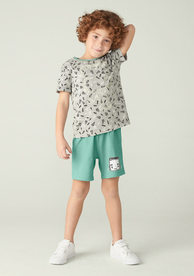 Pijama Curto Infantil Menino Little Monsters Com Fronha | Puc