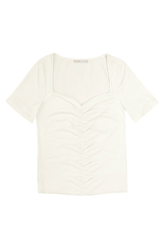 Blusa Cropped Manga Curta Decote Franzido | Outlet