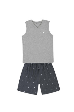 Pijama Masculino Com Regata E Shorts Estampado | Outlet