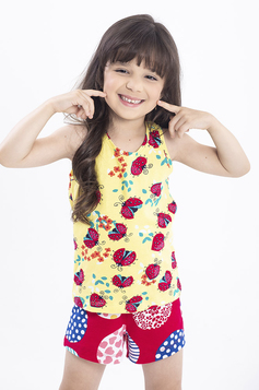 Pijama Infantil Menina Com Regata E Shorts Com Mix De Estampas | Outlet