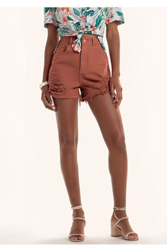 Shorts Em Sarja Na Base Pin Up Com Barra Desfiada E Destroyed | Outlet