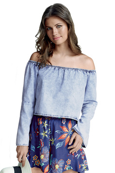 Blusa Feminina Hering Tipo Cropped Em Jeans