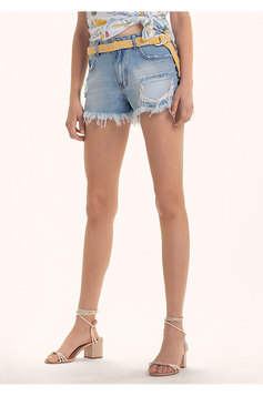 Shorts Jeans Na Base Lisboa Com Barra Desfiada E Destroyed | Outlet