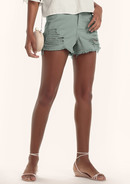 Shorts Em Sarja Na Base Pin Up Com Barra Desfiada E Destroyed