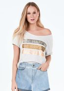 T-Shirt Cropped Com Estampa Metalizada