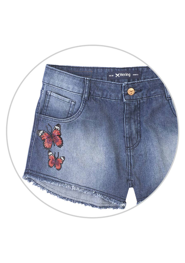 Shorts summer jeans feminino hering com patches na Hering